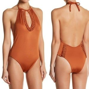 STUNNING One Piece Swimsuit Golden Brown Size L